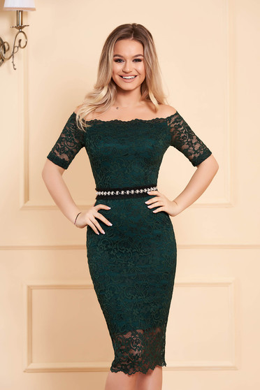 StarShinerS green occasional midi dress with tented cut from laced fabric with inside lining accessorized with tied waistband