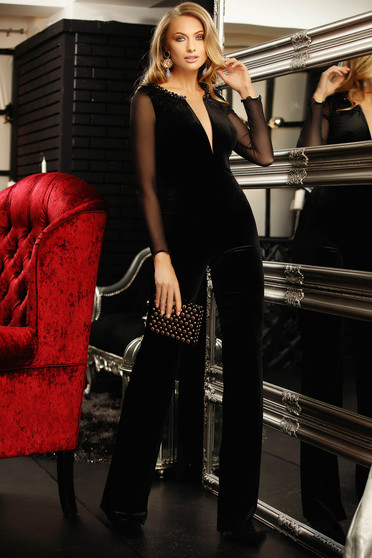 Jumpsuit black occasional flared long laced long sleeved with net accessory with v-neckline feather details