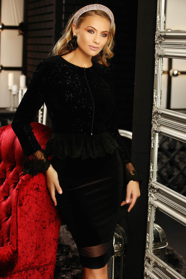 Jacket black occasional tented short cut velvet with bright details long sleeved with lace details zipper accessory