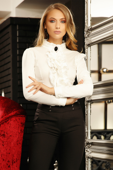Women`s shirt white elegant tented short cut cotton with ruffle details accessorized with breastpin high collar
