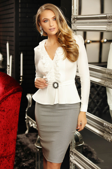 Women`s shirt white elegant cotton peplum with tie back belt buckle accessory with ruffles on the chest with v-neckline long sleeve