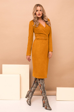 Dress mustard elegant midi pencil wrap around accessorized with belt with v-neckline long sleeved