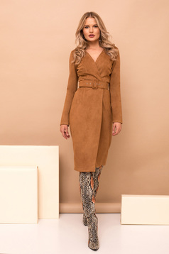 Dress brown elegant midi pencil wrap around accessorized with belt with v-neckline long sleeved