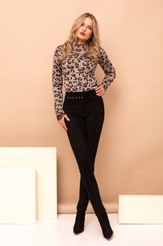 Black trousers elegant long conical accessorized with belt faux leather