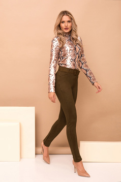 Khaki trousers elegant long conical accessorized with belt faux leather