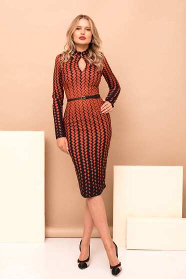 Dress bricky elegant cloth with geometrical print midi pencil accessorized with belt long sleeved