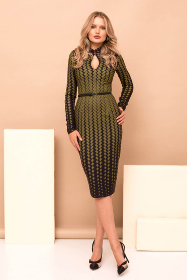 Dress khaki elegant cloth with geometrical print midi pencil accessorized with belt long sleeved