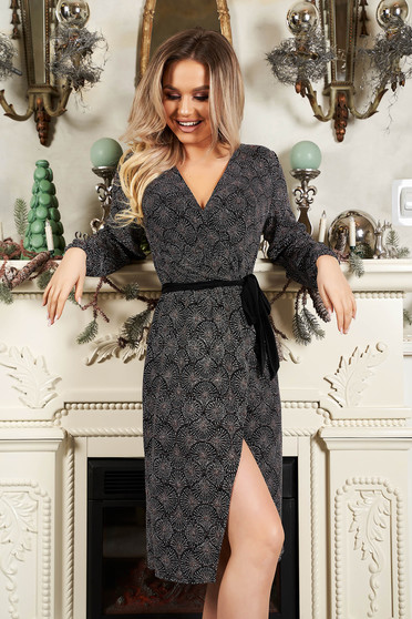 StarShinerS grey dress occasional with geometrical print detachable cord wrap over front straight