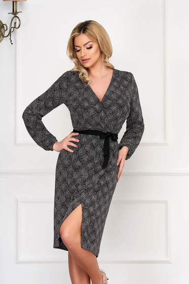 StarShinerS grey dress occasional wrap over front straight
