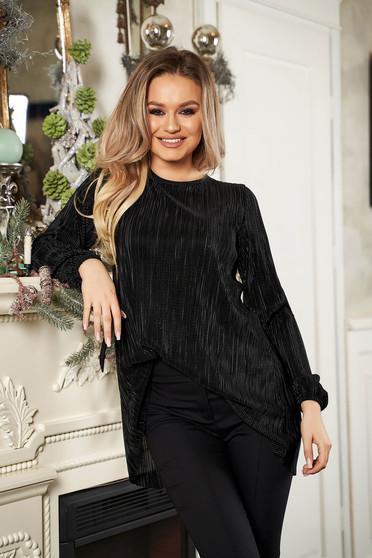 StarShinerS black women`s blouse elegant with easy cut long sleeved neckline