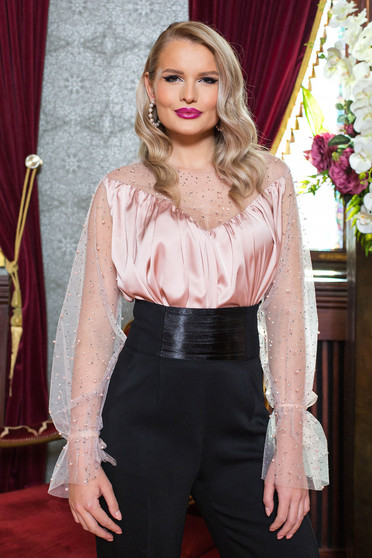Lightpink women`s blouse elastic held sleeves with net accessory from satin fabric texture with crystal embellished details occasional with a cleavage with pearls