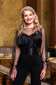 Black women`s blouse elastic held sleeves with net accessory from satin fabric texture with crystal embellished details occasional with a cleavage with pearls