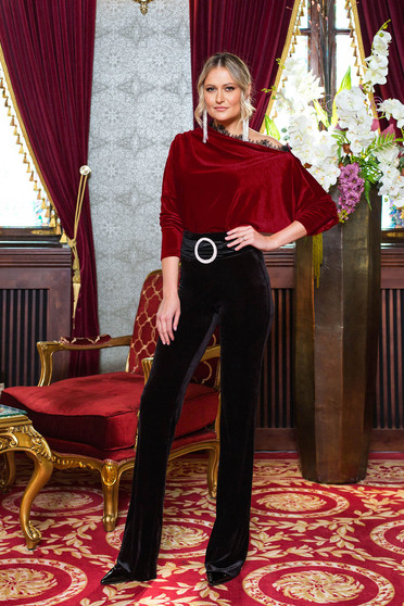 Black trousers occasional velvet straight high waisted