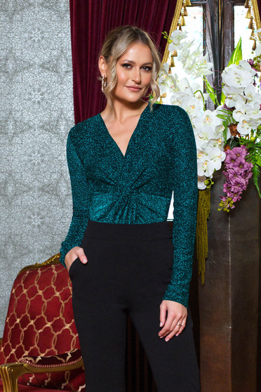 Green body occasional with v-neckline long sleeve