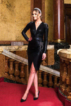 Black skirt metallic chain accessory wrap around high waisted from ecological leather clubbing