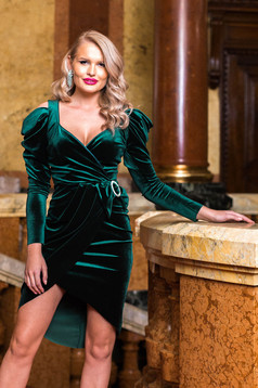 Green dress velvet pencil long sleeve with v-neckline with puffed sleeves wrap around