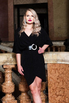 Black dress occasional pencil with v-neckline with 3/4 sleeves