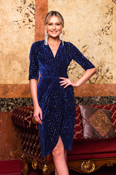 Dress darkblue occasional velvet with sequins with v-neckline wrap over front strass slit