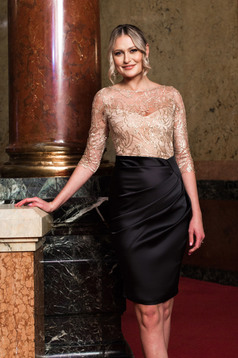 Dress gold occasional pencil 3/4 sleeve from satin laced