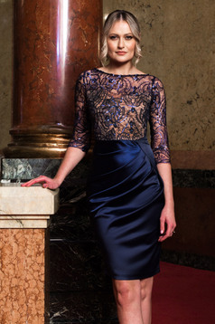 Dress darkblue occasional pencil 3/4 sleeve from satin laced