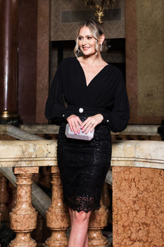 Dress black occasional with v-neckline arched cut long sleeved voile fabric with lace details