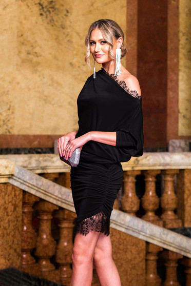 Dress black occasional velvet with lace details pencil asymmetrical 3/4 sleeve laced