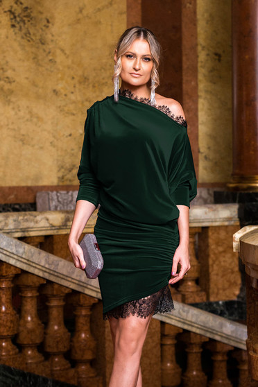 Dress green occasional velvet with lace details pencil asymmetrical 3/4 sleeve laced