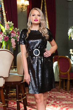 Dress black short cut occasional straight with sequins