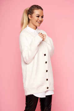 White cardigan elegant with v-neckline long sleeved with buttons