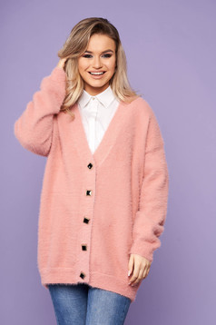 Pink cardigan elegant with v-neckline long sleeved with buttons