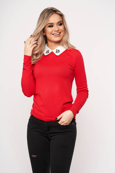 Red women`s blouse elegant short cut with collar knitted with crystal embellished details