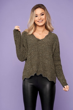 Khaki sweater casual short cut with v-neckline flared knitted