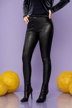 Black tights clubbing from elastic fabric faux leather elastic waist from shiny fabric