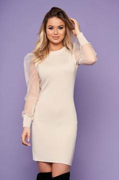 Cream dress elegant pencil transparent sleeves knitted long sleeved neckline