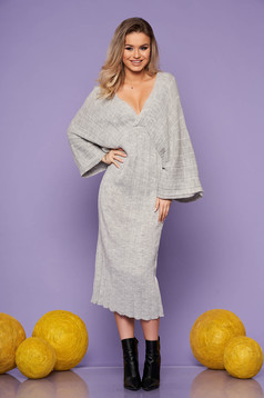 Grey dress daily midi straight knitted fabric with v-neckline large sleeves