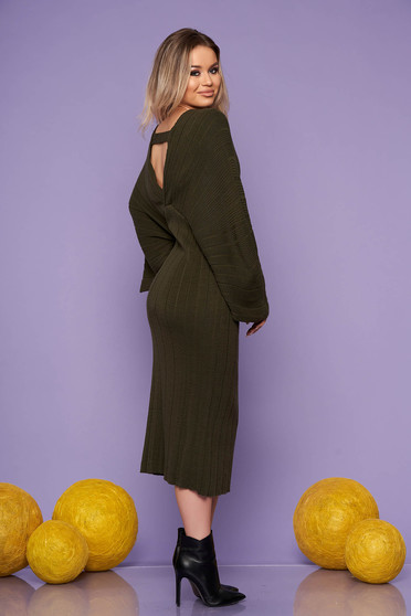 Khaki dress daily midi straight knitted fabric with v-neckline large sleeves