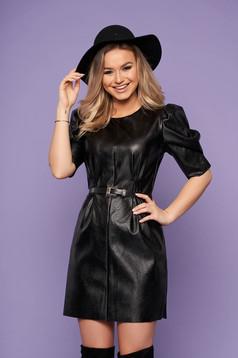 Black dress elegant from ecological leather neckline faux leather belt high shoulders