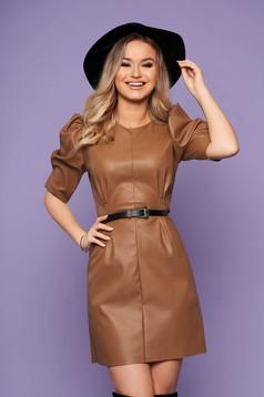 Brown dress elegant from ecological leather neckline faux leather belt high shoulders