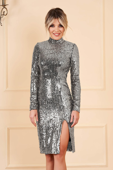 StarShinerS silver dress occasional short cut pencil with sequins long sleeved with turtle neck