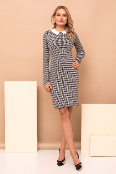 Dress black elegant pencil short cut long sleeve knitted fabric with collar