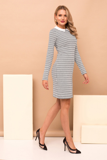 Dress grey elegant pencil short cut long sleeve knitted fabric with collar