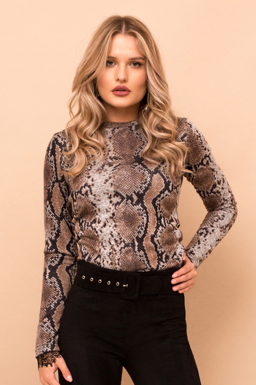Brown sweater short cut tented elegant long sleeved snake print
