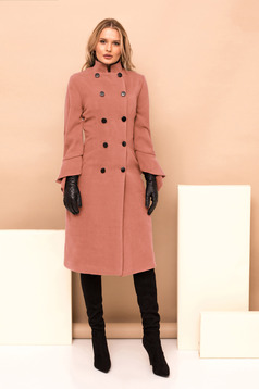 Lightpink long straight occasional coat with turtle neck with button accessories
