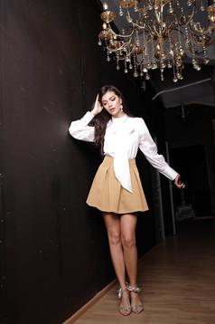 Cream casual cloche skirt slightly elastic fabric medium waist