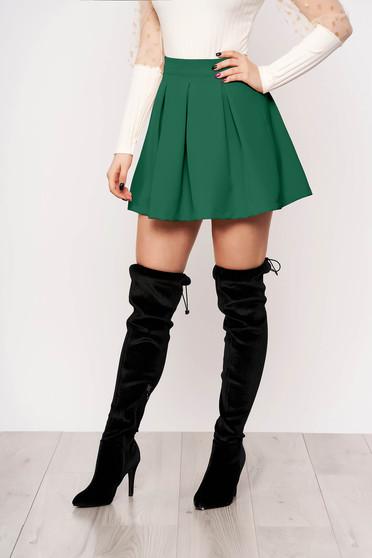 Green casual cloche skirt slightly elastic fabric medium waist