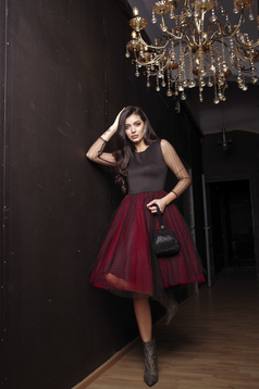 Dress red occasional cloche long sleeve from tulle