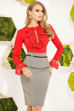 Red elegant short cut cotton women`s blouse tented long sleeved with bell sleeve with lace details