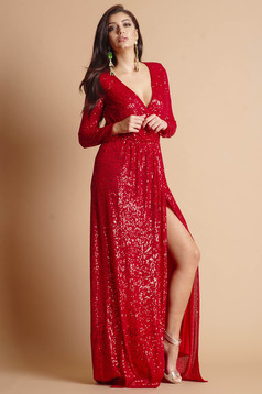 Dress red long occasional slit accessorized with tied waistband wrap over front detachable cord long sleeve with a cleavage