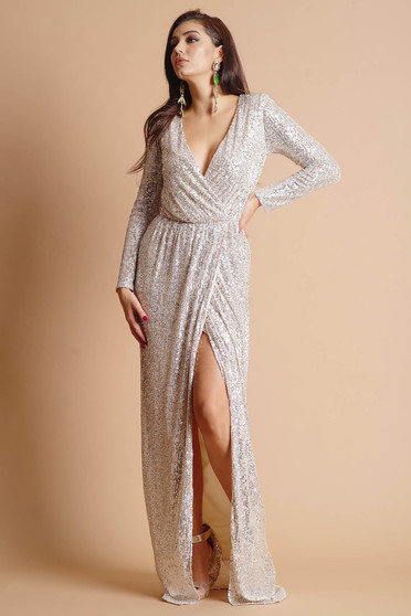 Dress silver long occasional slit accessorized with tied waistband wrap over front detachable cord long sleeve with a cleavage