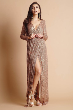 Dress brown long occasional slit accessorized with tied waistband wrap over front detachable cord long sleeve with a cleavage